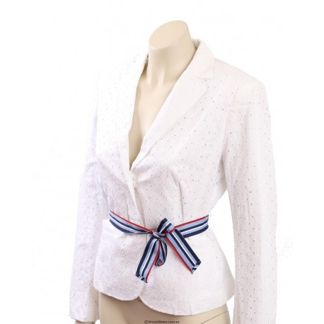Tommy Hilfiger Long Sleeves White Eyelet Belted Casual Blazer