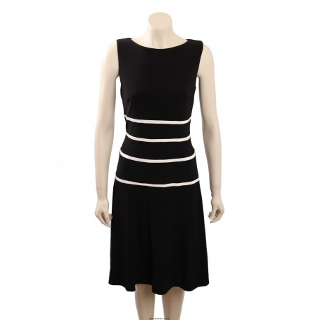 Ralph Lauren Sleeveless Matte Jersey Wear to Work B/W Dress