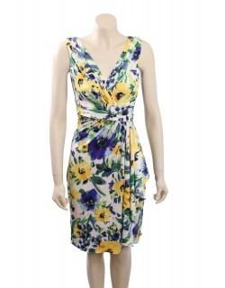 Ralph Lauren -Size12- Satin Floral Print Sleeveless Casual Dress