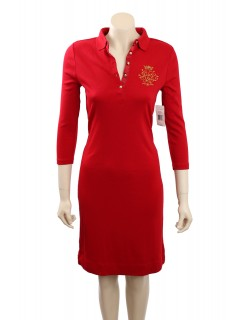 Ralph Lauren -Size L/14-16- Red Cotton Shirtdress with embellished