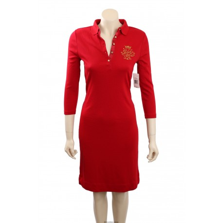 Ralph Lauren Red Cotton Shirtdress with embellished