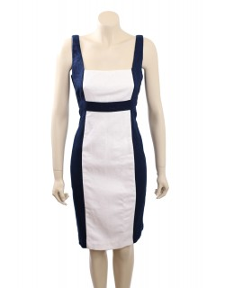 Ralph Lauren -Size18- White/Indigo Cotton Wear to Work Dress