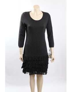 Calvin Klein Knit 3/4 Sleeves Knee-Length Charcoal Sweaterdress