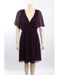 Ralph Lauren Size 12 Purple Chiffon Flutter Sleeves Cocktail Dress