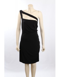 Calvin Klein Black Matte Jersey One Shoulder Party Dress