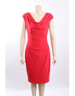 Ralph Lauren Coral Matte Jersey Cap Sleeves Cocktail Dress