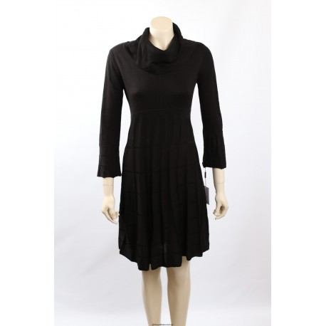 Calvin Klein Black Knit Cowl Neck Sweaterdress
