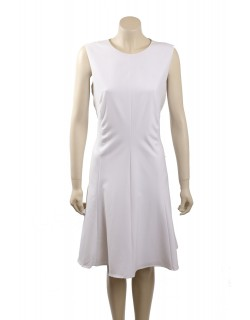 Calvin Klein White Sleeveless Pintuck Casual Dress