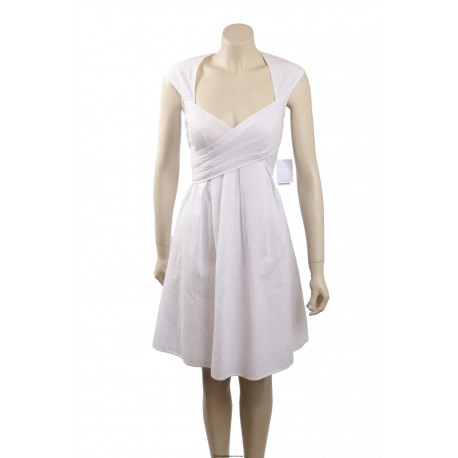 Jessica Simpson White Seersucker Pleated Casual Dress