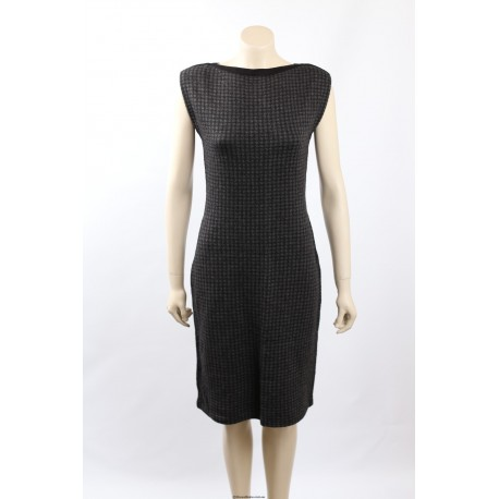 Ralph Lauren Gray Merino Wool Blend Houndstooth Casual Dress