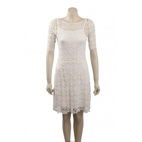 Ralph Lauren White Crochet Cotton Cocktail Dress