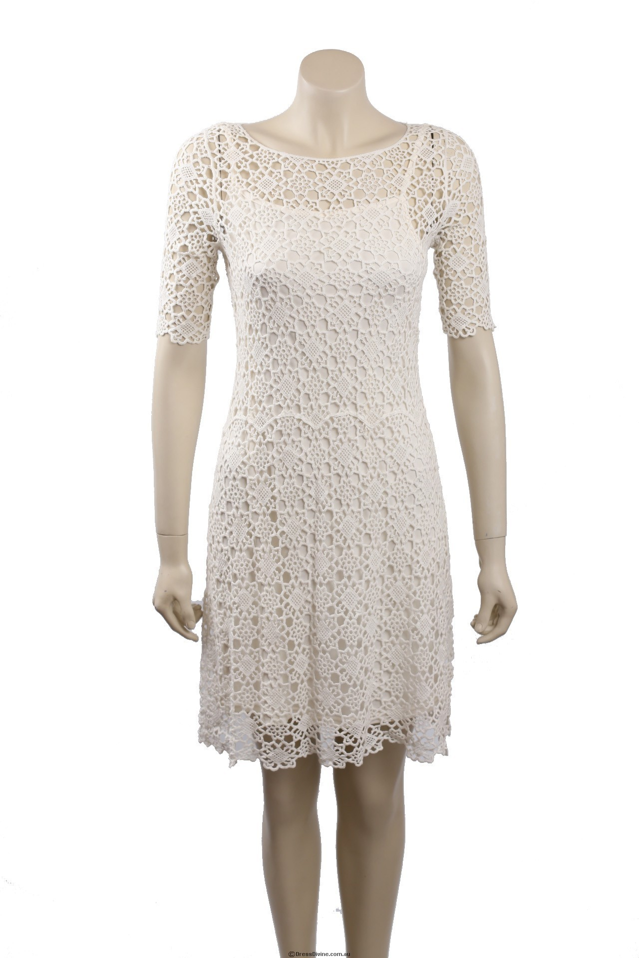 6dd60b73d36 Ralph Lauren White Crochet Cotton Cocktail Dress