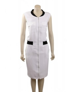 Calvin Klein Size 20 White Knee-Length Sleeveless Casual Dress