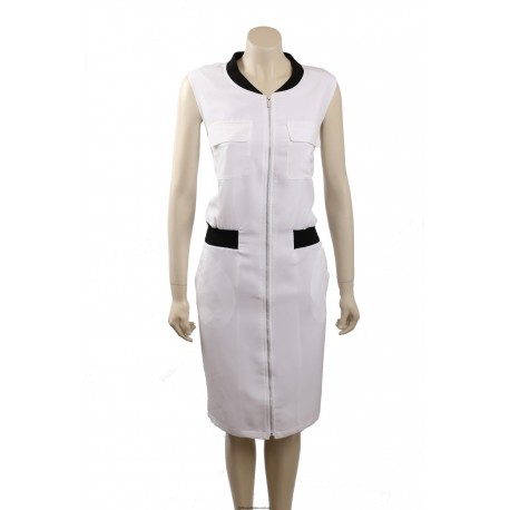 Calvin Klein White Knee-Length Sleeveless Casual Dress