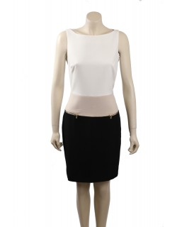 Ralph Lauren Size 12 Ivory Colorblock Wear to Work Dress
