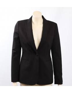 Calvin Klein Size 6 Black One-Button Blazer Jacket