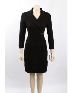Calvin Klein Size L Black Cable Knit Knee-Length Sweaterdress
