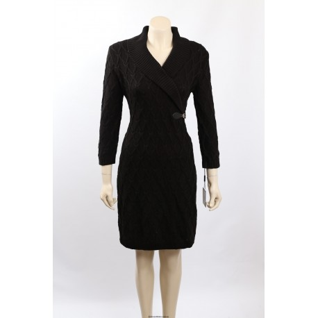 Calvin Klein Black Cable Knit Knee-Length Sweaterdress