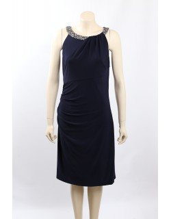 Ralph Lauren Size 14/16 Navy Embellished Ruched Party Cocktail Dress