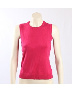 Charter Club soft round neck vest in a dark pink knit