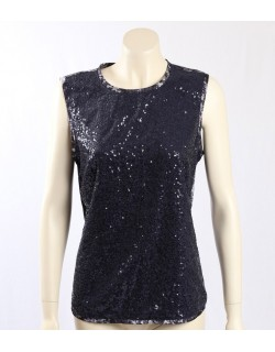 Jones New York Navy Sequined Party Top