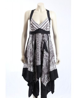 BCBG B/W Silk Dress - Size M/12-14