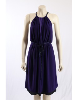 Tahari -Size S/8-10- Purple Cocktail Dress, Pink Trim