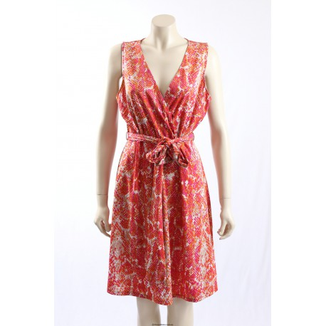 INC -Size XL/18- Pink Orange Printed Wrap Dress