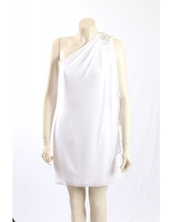 JS Boutique -Size 8- White Chiffon Cocktail Dress