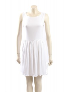 AQUA -Size 8- White Dress with Lace Back