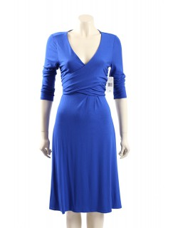 Ralph Lauren - Size M - Blue Jersey Faux Wrap Dress