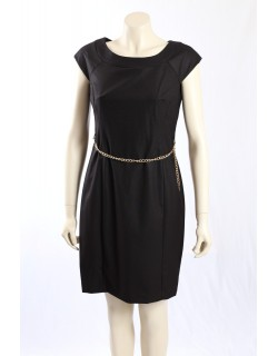 Jones New York -Size 10P- Black Dress with Gold Chain Belt