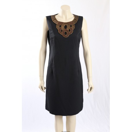 Ellen Tracy black shift cocktail dress w/ beaded neckline - Size 14