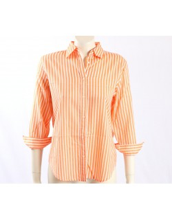 Ralph Lauren -Size M- Orange White Striped Shirt