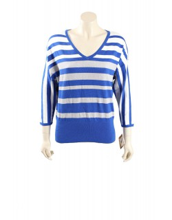 Ellen Tracy blue metallic stripes V-neck top - Size M